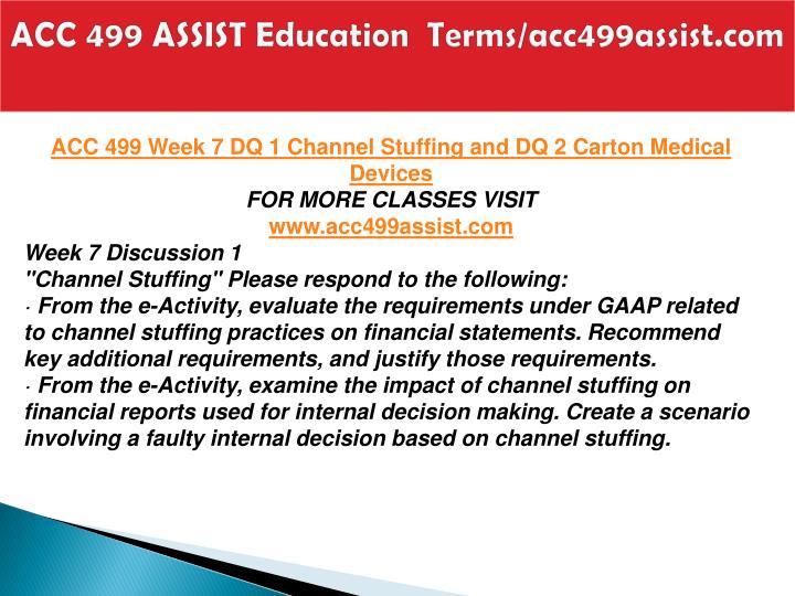 ACC 499 ASSIST Education  Terms/acc499assist.com