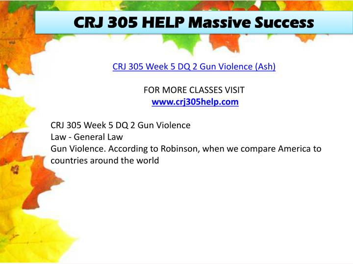 CRJ 305 HELP Massive Success