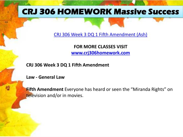 CRJ 306 HOMEWORK Massive Success