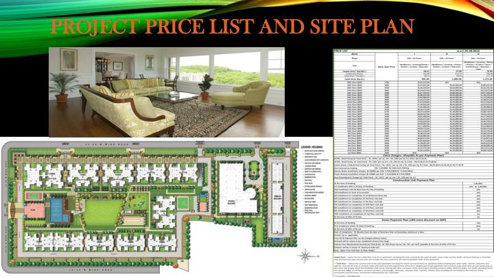 PROJECT PRICE LIST AND SITE PLAN