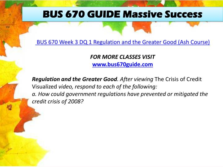 BUS 670 GUIDE Massive Success