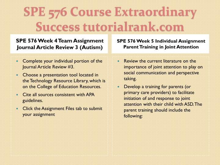 SPE 576 Week 4 Team Assignment Journal Article Review 3 (Autism)