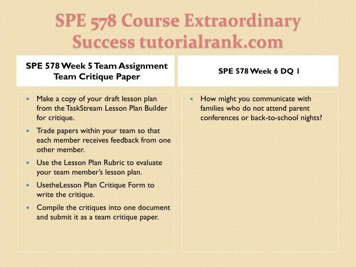 SPE 578 Week 5 Team Assignment Team Critique Paper