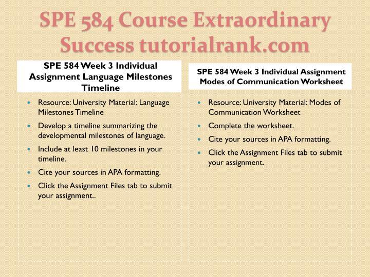 SPE 584 Week 3 Individual Assignment Language Milestones Timeline