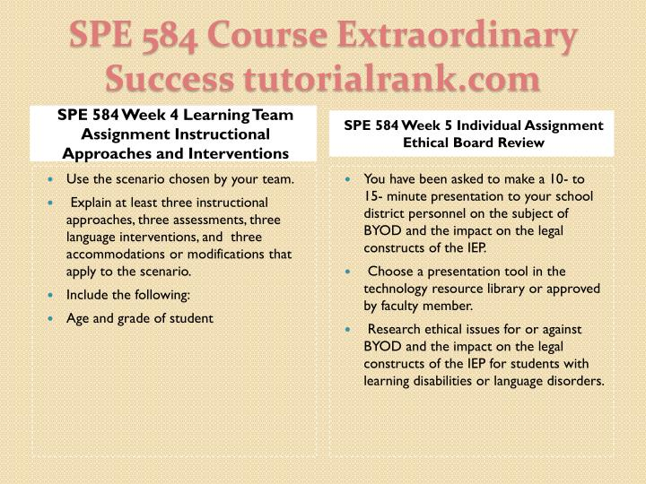 SPE 584 Week 4 Learning Team Assignment Instructional Approaches and Interventions
