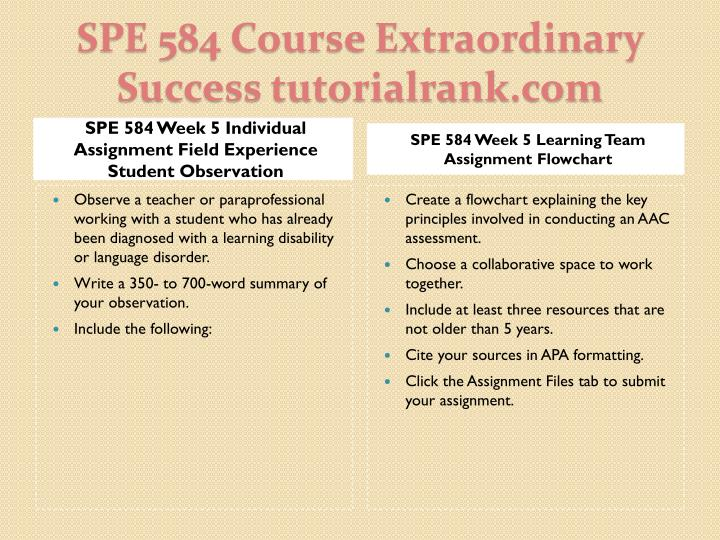 SPE 584 Week 5 Individual Assignment Field Experience Student Observation