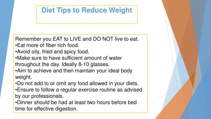 Diet tips to reduce weight
