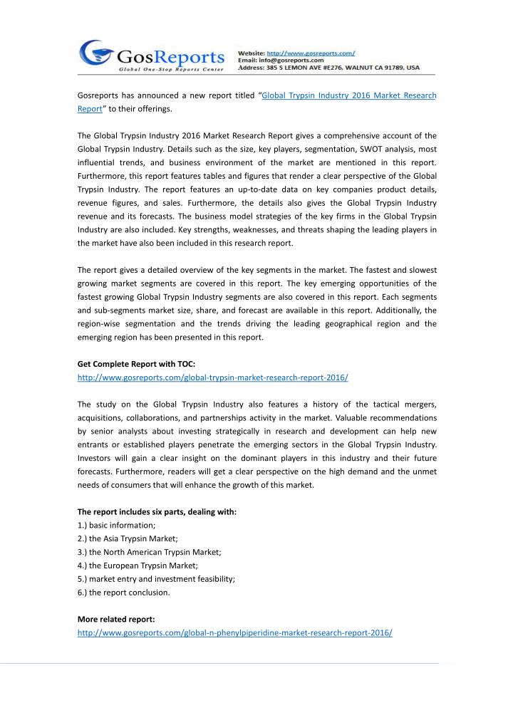 """Gosreports has announced a new report titled """"Global Trypsin Industry 2016 Market Research"""