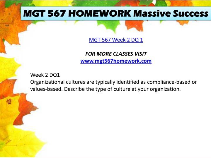 MGT 567 HOMEWORK Massive Success