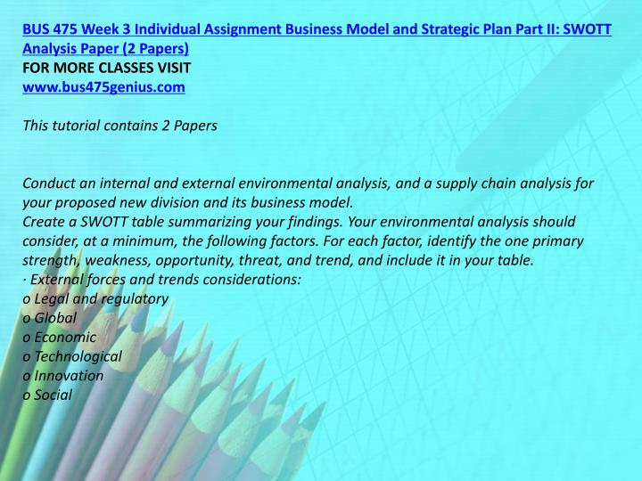 BUS 475 Week 3 Individual Assignment Business Model and Strategic Plan Part II: SWOTT Analysis Paper (2 Papers)