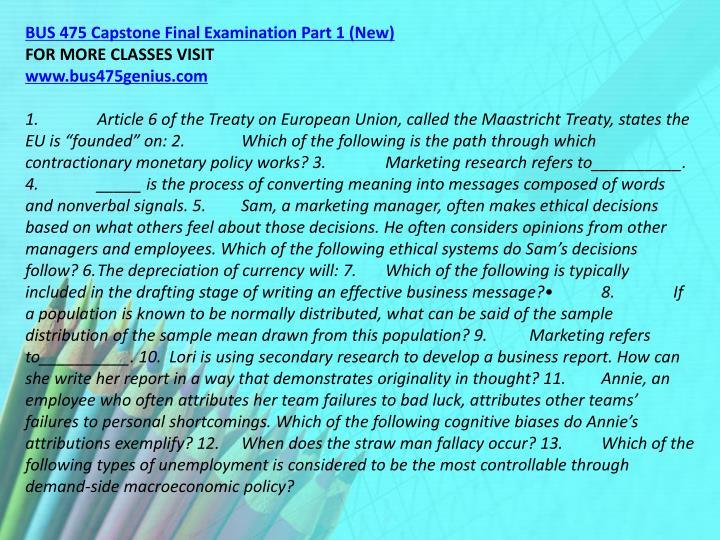 BUS 475 Capstone Final Examination Part 1 (New)