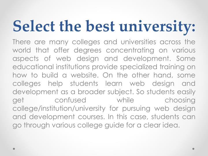 Select the best university: