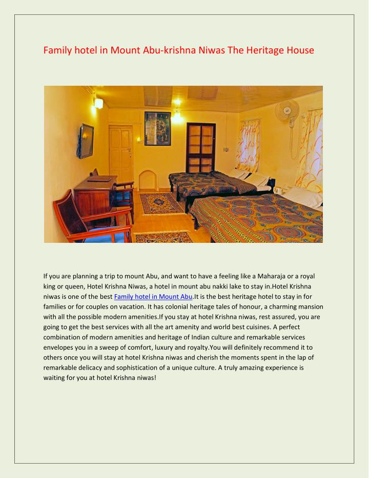 Family hotel in Mount Abu-krishna Niwas The Heritage House