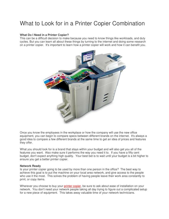 What to Look for in a Printer Copier Combination