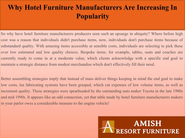 Why hotel furniture manufacturers are increasing in popularity2