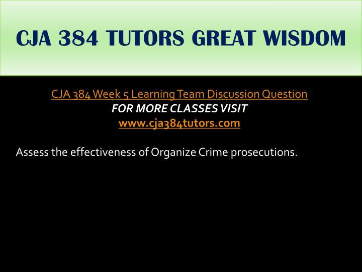 CJA 384 TUTORS GREAT WISDOM