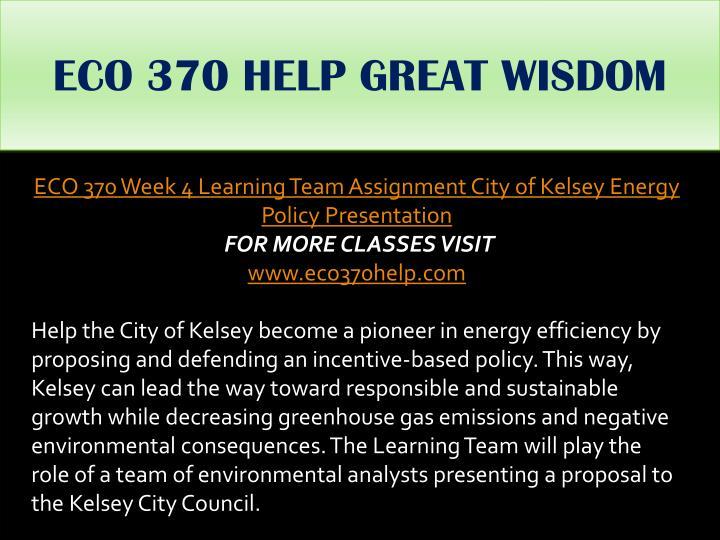 ECO 370 HELP GREAT WISDOM