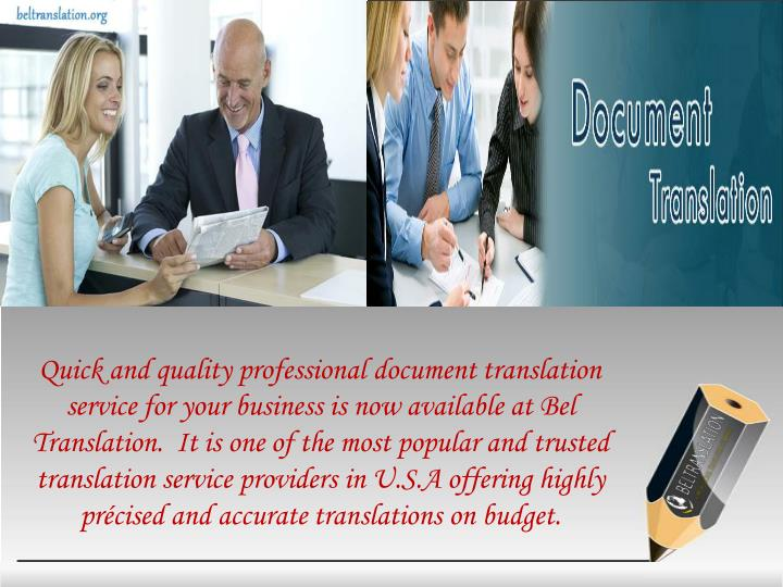 Quick and quality professional document translation
