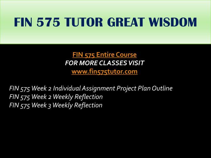 FIN 575 TUTOR GREAT WISDOM