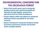 environmental concerns for the deciduous forest