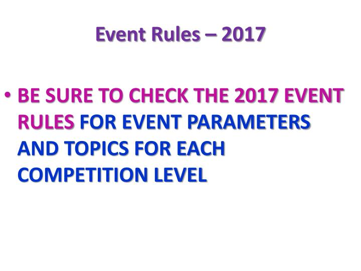 Event Rules – 2017