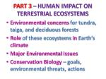 part 3 human impact on terrestrial ecosystems