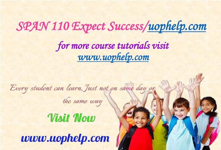 Span 110 expect success uophelp com