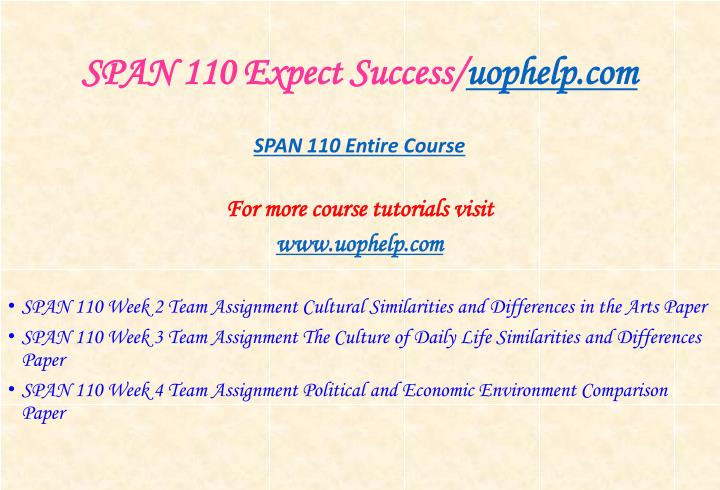 Span 110 expect success uophelp com1