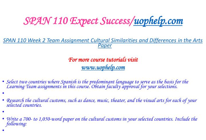 Span 110 expect success uophelp com2