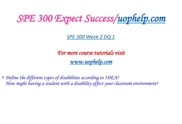 SPE 300 Expect Success/
