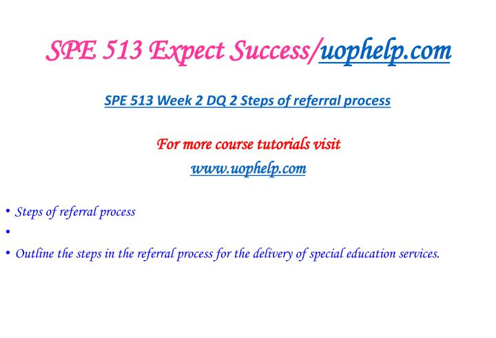 SPE 513 Expect Success/