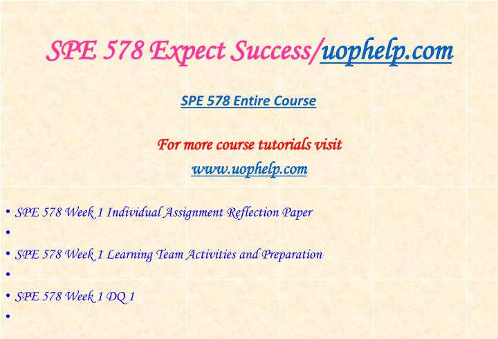 Spe 578 expect success uophelp com1