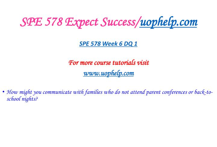 SPE 578 Expect Success/