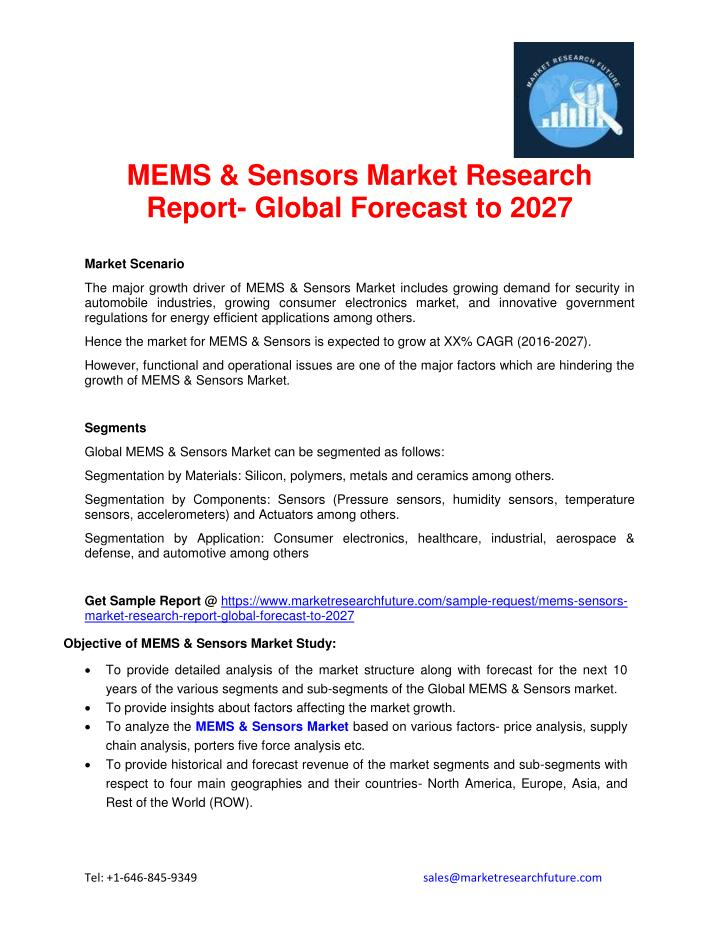 MEMS & Sensors Market Research