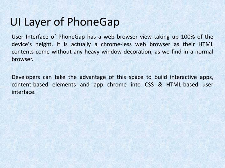 Ui layer of phonegap