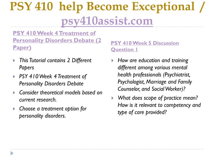 PSY 410  help Become Exceptional  /