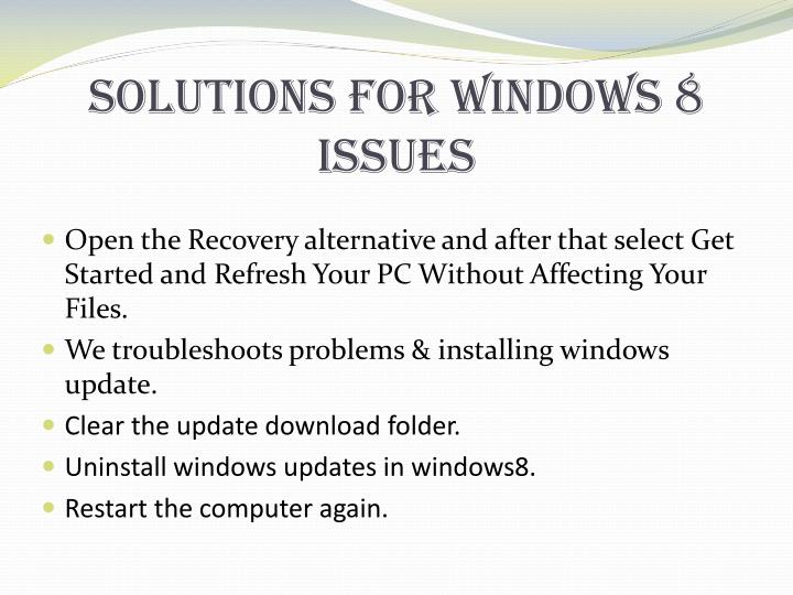 Solutions For Windows 8 Issues