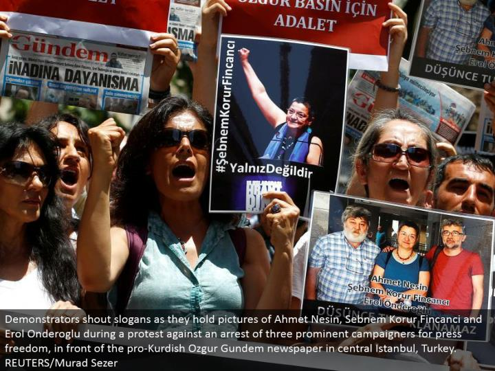 Demonstrators yell mottos as they hold pictures of Ahmet Nesin, Sebnem Korur Fincanci and Erol Onderoglu amid a challenge a capture of three noticeable campaigners for squeeze opportunity, before the ace Kurdish Ozgur Gundem daily paper in focal Istanbul, Turkey. REUTERS/Murad Sezer