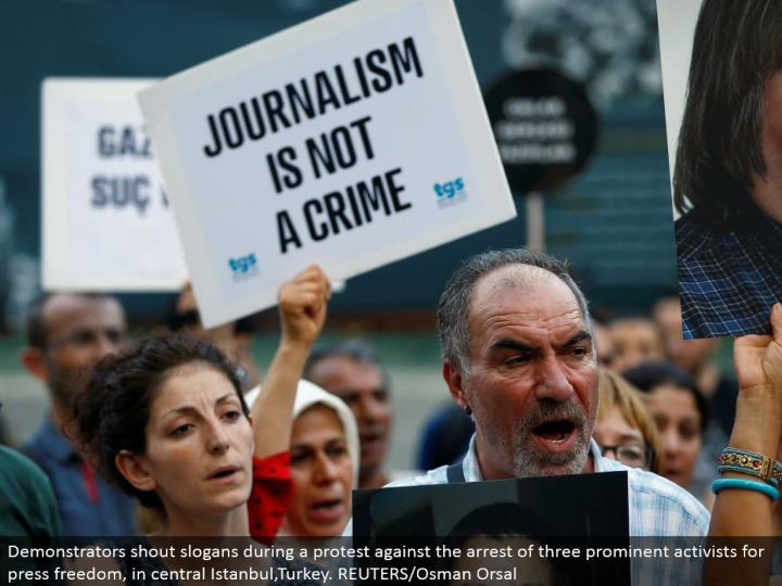 Demonstrators yell mottos amid a challenge the capture of three noticeable activists for squeeze flexibility, in focal Istanbul,Turkey. REUTERS/Osman Orsal