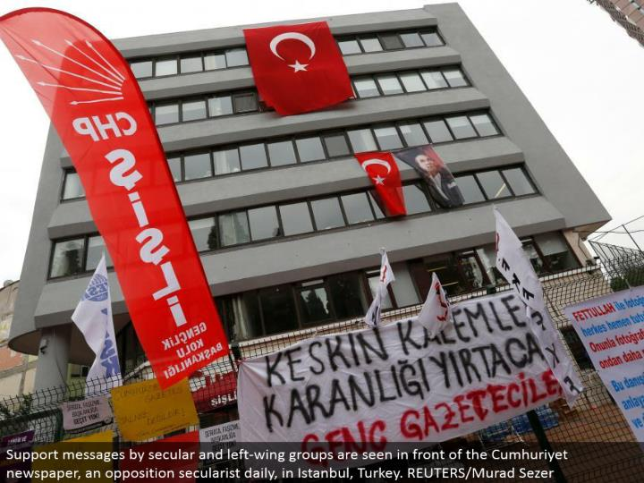 Support messages by common and left-wing gatherings are found before the Cumhuriyet daily paper, a restriction secularist every day, in Istanbul, Turkey. REUTERS/Murad Sezer