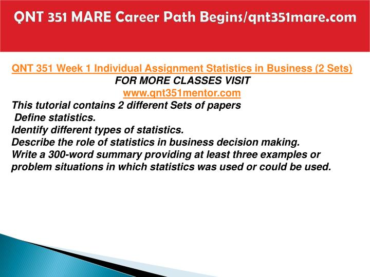 QNT 351 MARE Career Path Begins/qnt351mare.com