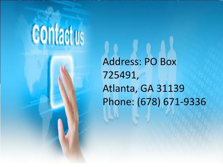 Address: PO Box 725491,