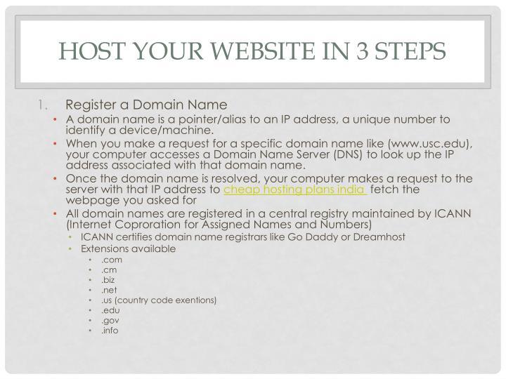 Host your Website in 3