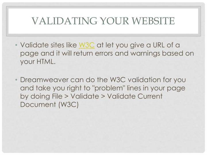 Validating your website