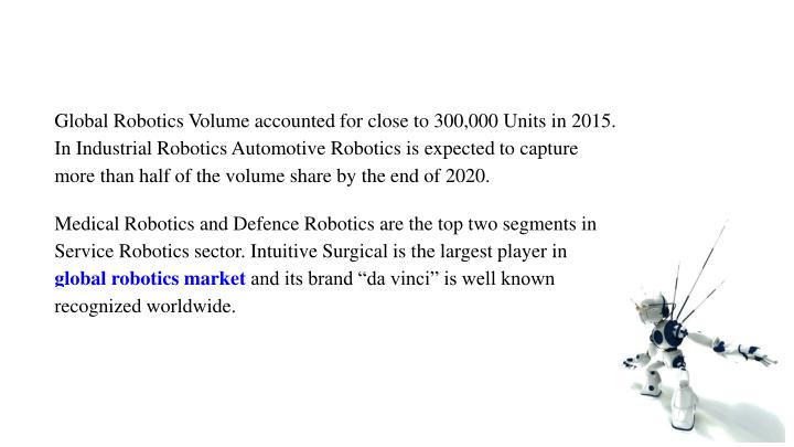 Global Robotics Volume accounted for close to 300,000 Units in 2015.