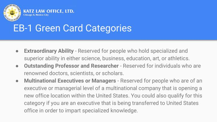 EB-1 Green Card Categories