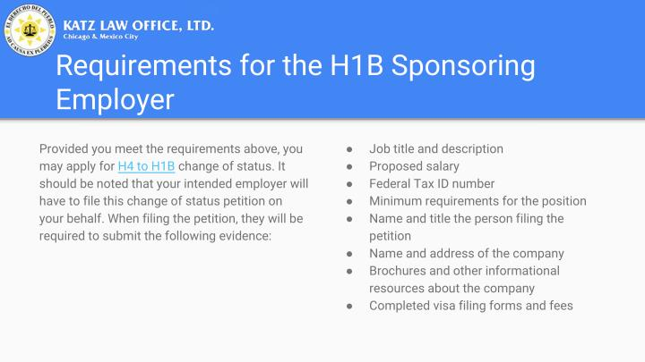 Requirements for the H1B Sponsoring
