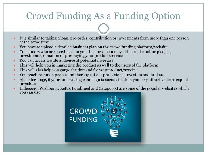 Crowd funding as a funding option
