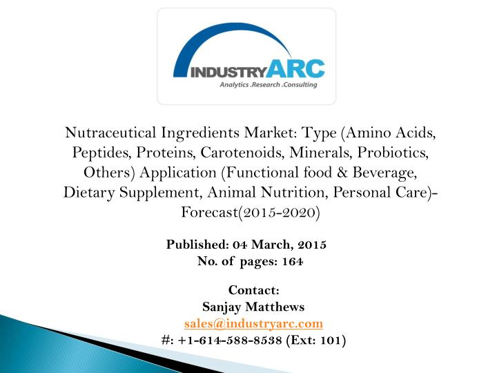 Nutraceutical Ingredients Market: Type (Amino Acids, Peptides, Proteins, Carotenoids, Minerals, Probiotics, Others) Application (Functional food & Beverage, Dietary Supplement, Animal Nutrition, Personal Care)-Forecast(2015-2020)