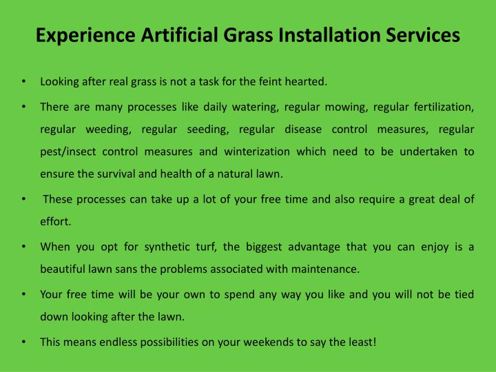 Experience artificial g rass i nstallation services